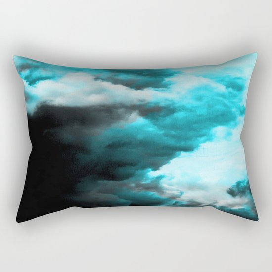 Relaxed - Cloudy Abstract In Blue And Black Rectangular Pillow