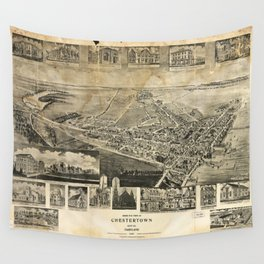 Bird's Eye View of Chestertown, Maryland (1907) Wall Tapestry