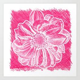 White Flower On Pink Crayon Art Print