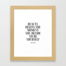 Girls Quote Beauty Begins Fashion Wall Art FASHIONISTA Poster Home Decor Quote Framed Art Print