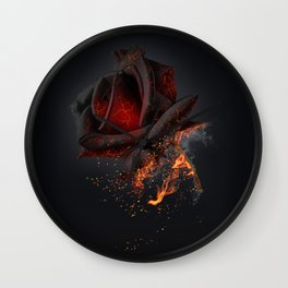 Beautiful red rose on black background on fire Wall Clock