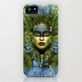 """Tropical green and indigo jungle Woman"" iPhone Case"