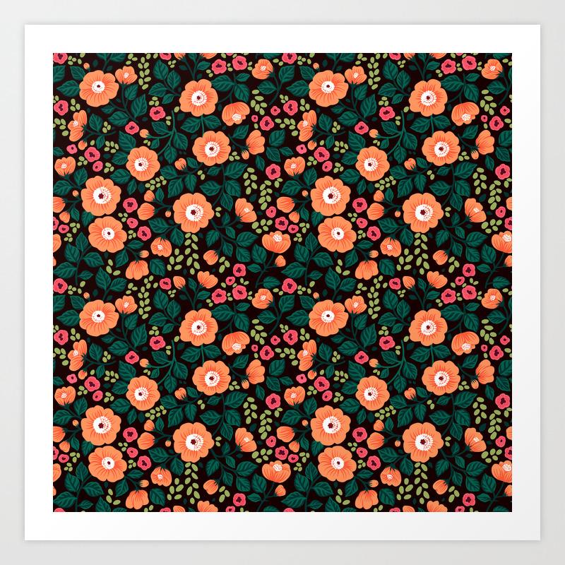 08 Floral Pattern Black Background Orange Flowers Art Print By