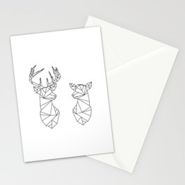 Geometric Stag and Doe (Black on White) Stationery Cards