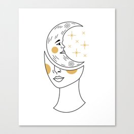 Crescent Moon Girl Canvas Print