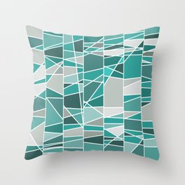 Turquoise and grey Throw Pillow