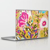 karen hallion Laptop & iPad Skins featuring Bohemian Pink Abstract Flowers by Karen Fields by Karen Fields Design