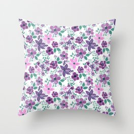Pink Purple Flowers Watercolor Painting Throw Pillow