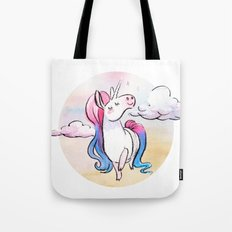 Chubby Unicorn: Pink & Blue Tote Bag