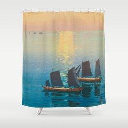 Glittering Sea (Hikaru Umi) Hiroshi Yoshida Modern Japanese Woodblock Print Shower Curtain