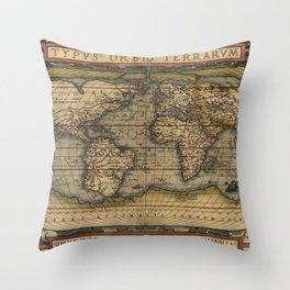 Antique Map of North and South America Throw Pillow