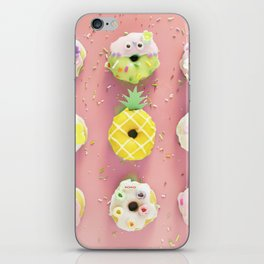 Colorful Donuts Print Pink Background iPhone Skin