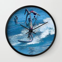 Mary & John Surfing #2 Wall Clock
