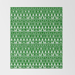 Green & White Nordic Ugly Sweater Christmas Pattern Throw Blanket