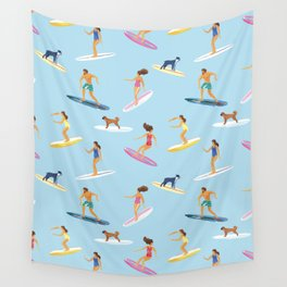 surfers watercolor pattern Wall Tapestry