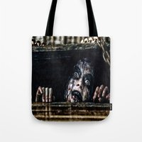 evil dead Tote Bags featuring Stay Out of the Basement: Evil Dead by Joe Misrasi