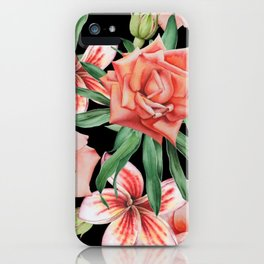 Roses on Black. Watercolor illustration. Hand drawn. iPhone Case