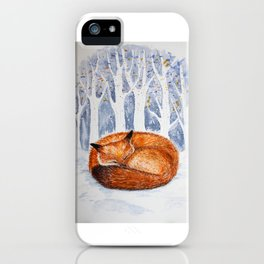 Wintery scene with a sleeping fox iPhone Case