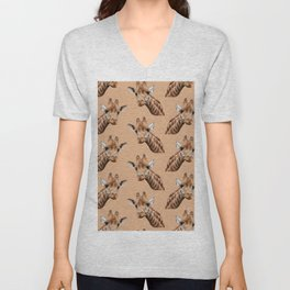 primitive African safari animal brown giraffe Unisex V-Neck