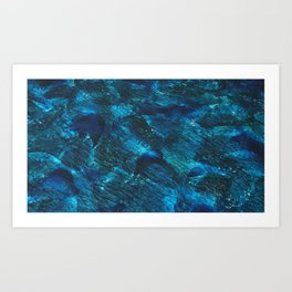 Blue waves background Art Print