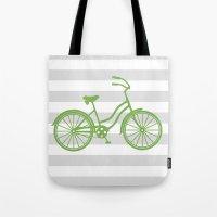 kermit Tote Bags featuring kermit bike by Ann Gardner