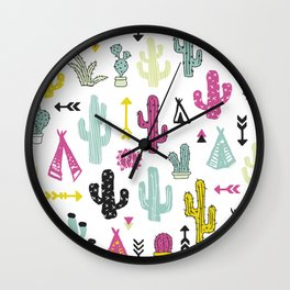 Colorful indian summer cactus garden and teepee illustration patte Wall Clock