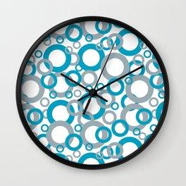 Blue Green, Gray, White Geometric Ring Pattern 2021 Color of the Year AI Aqua Wall Clock