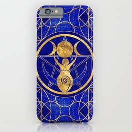 Triple Moon - Goddess -Lapis Lazuli and Gold iPhone Case