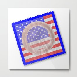 Stars And Stripes Condom Metal Print