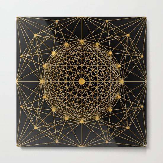 Geometric Circle Black and Gold Metal Print