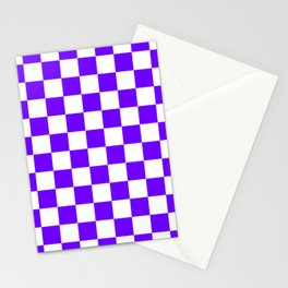 Checkered - White and Indigo Violet Stationery Cards