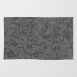 Modern Farmhouse Gray Damask Print Flower Vine on Weathered Background Rug