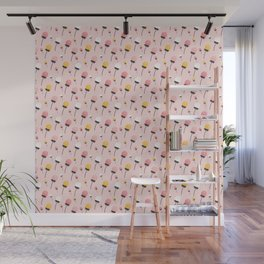 Dusty Pink Autumn Flowers Wall Mural
