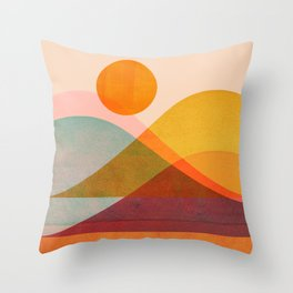 Abstraction_SUNSET_LANDSCAPE_POP_ART_Minimalism_018X Throw Pillow