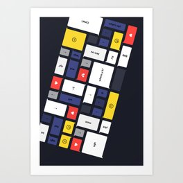LOL, Mondrian – White / Blue / Yellow / Red Abstract Print Art Print