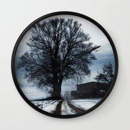 Foggy winter day I Wall Clock