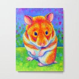 Rainbow Hamster Metal Print