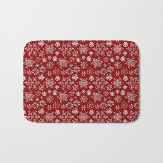 Merry Christmas- Abstract christmas snow star pattern on festive red Bath Mat