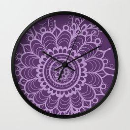 Lavender Dreams Flower Medallion - Medium with Light Outline Wall Clock