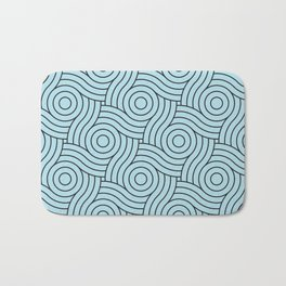 Circle Swirl Pattern VA Healing Aire Blue - Angelic Blue - Soothing Blue Bath Mat
