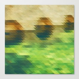Green yellow triangle pattern, lake Canvas Print