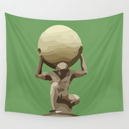 Man with Big Ball Illustration green Wall Tapestry