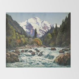 Mountains Forest Rocky River Throw Blanket