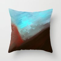 free shipping Throw Pillows featuring Mountains in blue by Ordiraptus