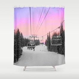 Ski Lift Sunset Shot on iPhone 4 Shower Curtain