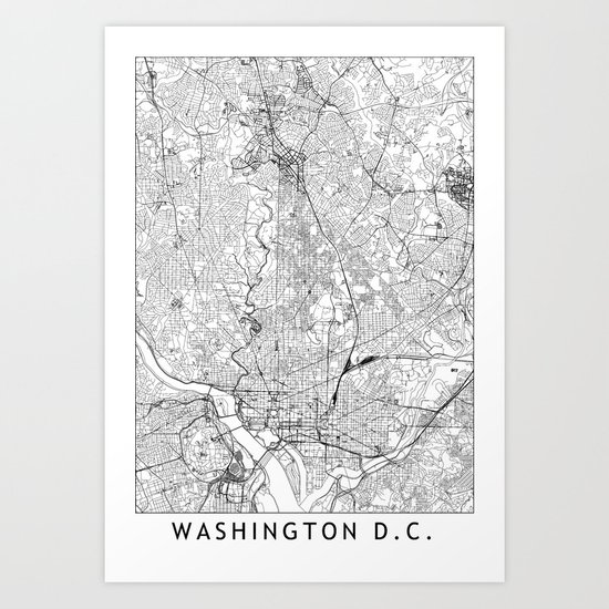 Washington D.C. White Map by multiplicity