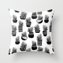 houseplant linocut aloe vera art botanical black and white lino printmaking art minimal modern Throw Pillow