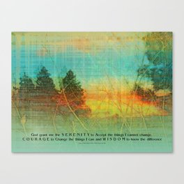 Serenity Prayer Colorful Trees Canvas Print