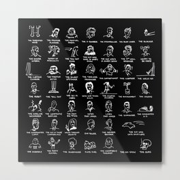 An Illustrated Guide To Improvisers - White Ink Metal Print