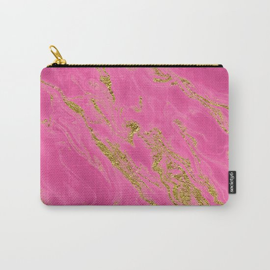 Luxury and glamorous gold glitter on pink Sea marble on #Society6 Carry-All Pouch